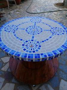 mesa de jardin decorativa viveros de tiza azul